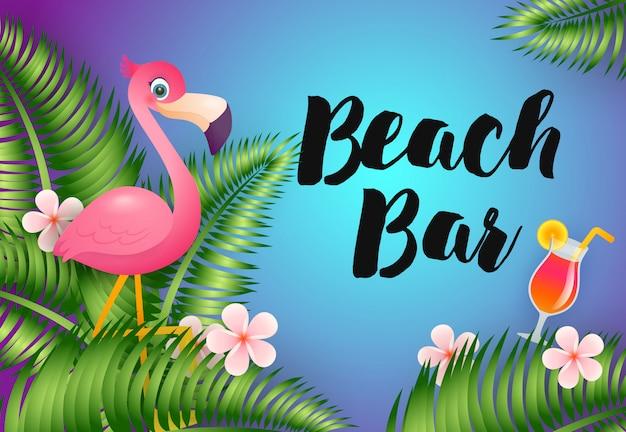 Letras de bar de praia com flamingo e coquetel