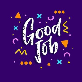 Letras de bom trabalho motivacionais desenhadas à mão