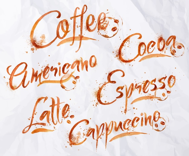 Letras de café gotas