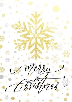 Letras de caligrafia de feliz natal para cartão de férias