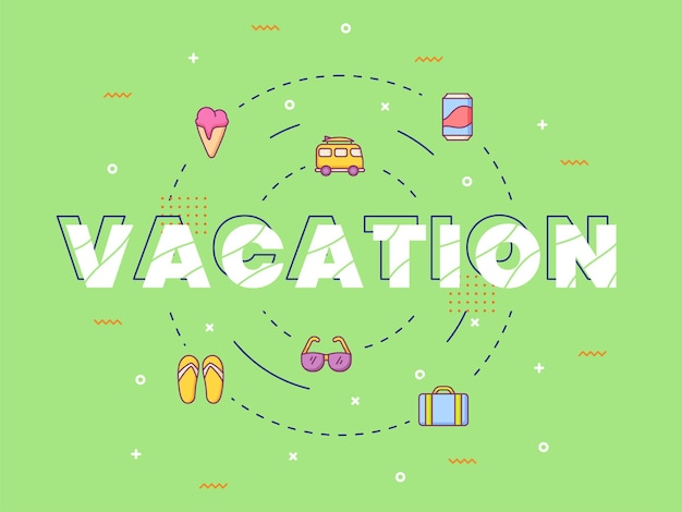 Letras de caligrafia de tipografia de férias em torno de um ícone de verão com estilo de contorno