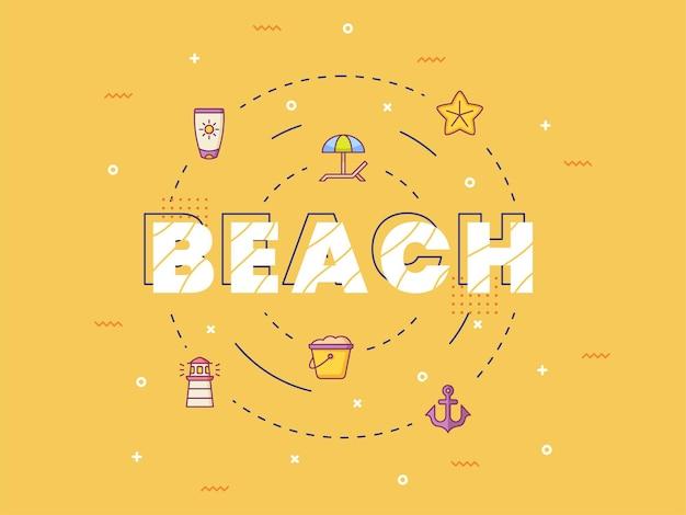 Letras de caligrafia de tipografia de praia em torno de um ícone de verão com estilo de contorno