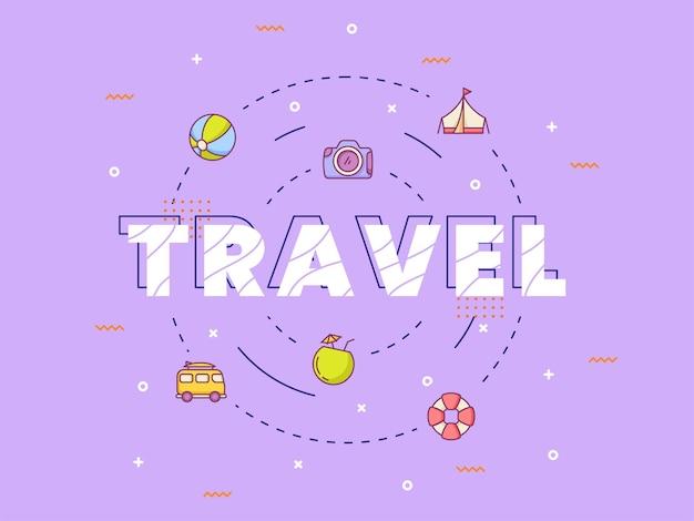 Letras de caligrafia de tipografia de viagens em torno de um ícone de verão com estilo de contorno