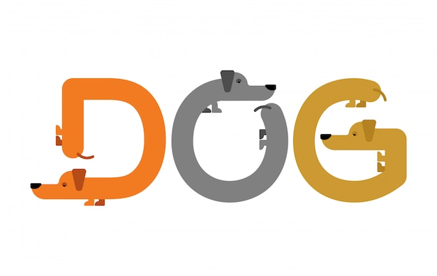 Letras de cão. tipografia dachshund. cartas de animais domésticos. alfabeto de estimação