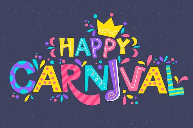Letras de carnaval colorido com saudação