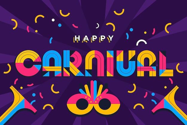 Letras de carnaval colorido design plano