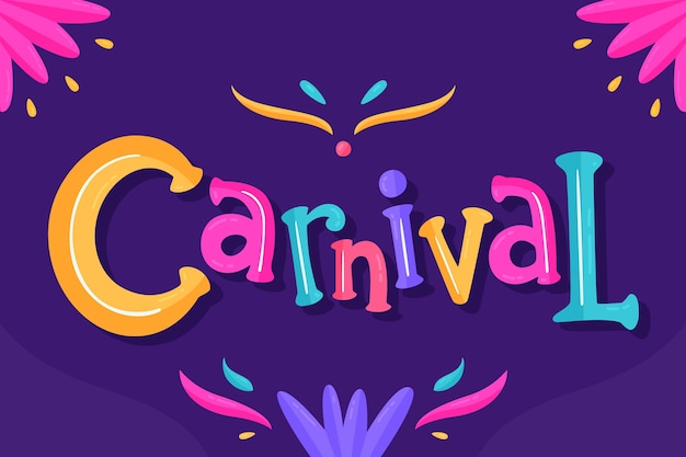Letras de carnaval em fundo escuro
