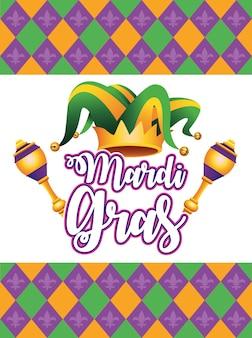 Letras de carnaval mardi gras com chapéu de bobo da corte e ilustração de maracas