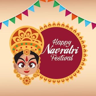 Letras de cartão de celebração feliz navratri com a deusa e guirlandas