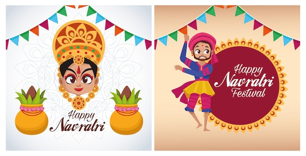 Letras de cartão de celebração feliz navratri com a deusa e o homem dançando