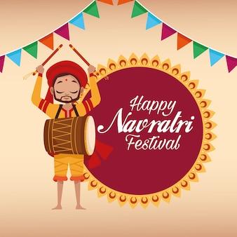 Letras de cartão de celebração feliz navratri com homem tocando tambor e guirlandas