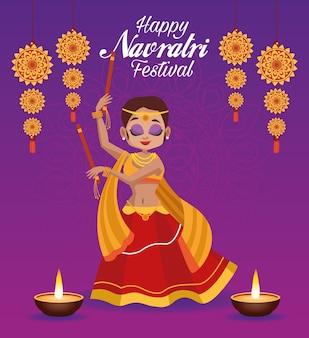 Letras de cartão de celebração feliz navratri com linda mulher dançando e velas