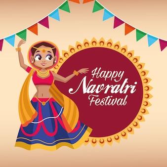 Letras de cartão de celebração feliz navratri com mulher dançando e guirlandas em renda