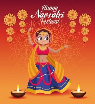 Letras de cartão de celebração feliz navratri com mulher dançando e velas