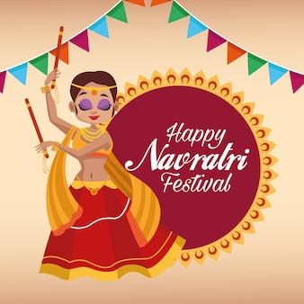 Letras de cartão de celebração feliz navratri com uma linda mulher dançando e guirlandas em renda