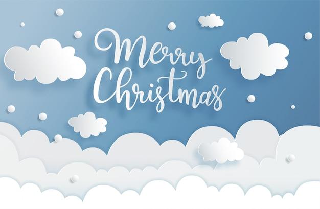 Letras de cartão de feliz natal desenhadas à mão em estilo de corte de papel