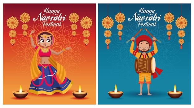 Letras de cartão de navratri feliz com homem tocando tambor e mulher dançando