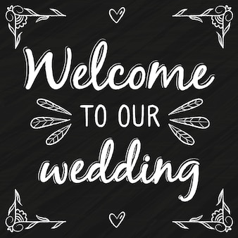 Letras de casamento com mensagem de boas-vindas