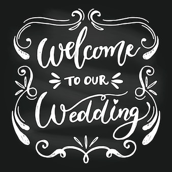 Letras de casamento elegante no quadro-negro