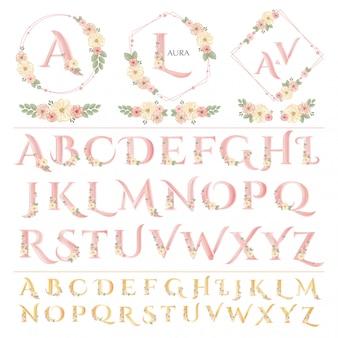 Letras de casamento floral