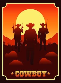 Letras de caubói em cena de faroeste com caubóis e armas