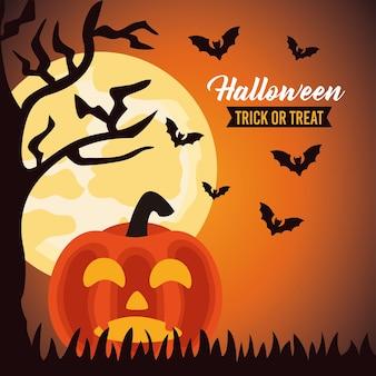 Letras de celebração de halloween feliz com abóbora e morcegos voando em cena noturna