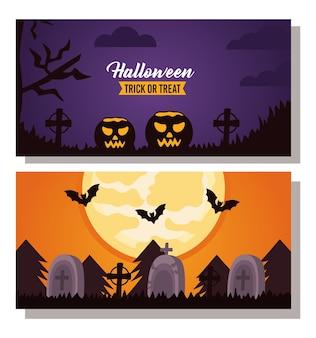 Letras de celebração de halloween feliz com abóboras e cenas de cemitério