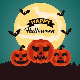 Letras de celebração de halloween feliz com abóboras e morcegos voando à noite