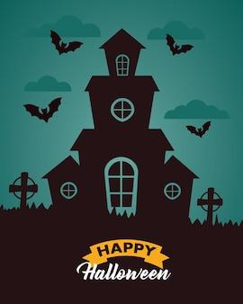 Letras de celebração de halloween feliz com casa assombrada no cemitério