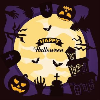 Letras de celebração de halloween feliz com cena de lua e cemitério
