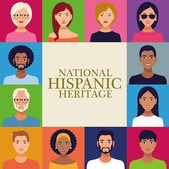 Letras de celebração do patrimônio hispânico nacional com grupo de pessoas em moldura quadrada.