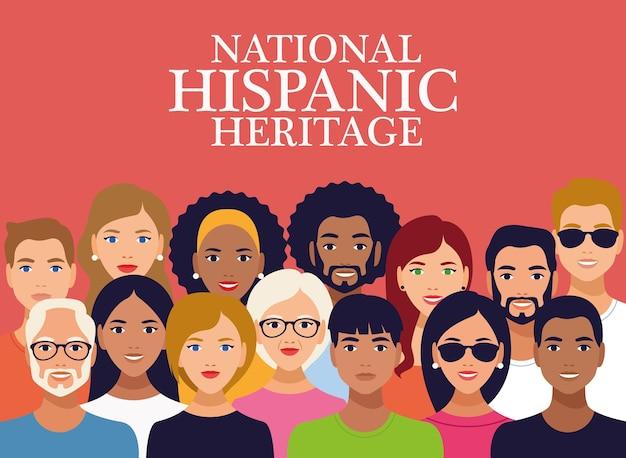 Letras de celebração do patrimônio hispânico nacional com grupo de pessoas.