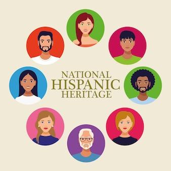 Letras de celebração do patrimônio hispânico nacional com pessoas em uma moldura circular.