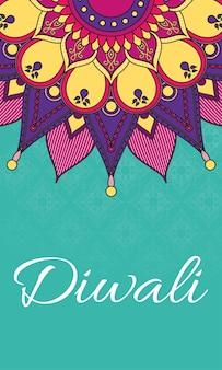 Letras de celebração feliz diwali com decoração de mandala