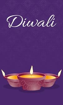 Letras de celebração feliz diwali com velas