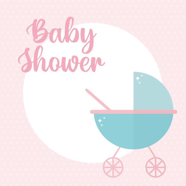 Letras de chá de bebê com desenho de ilustração de um carrinho de bebê