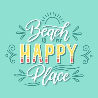 Letras de citação de lugar feliz praia