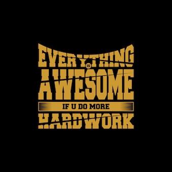 Letras de citação de trabalho duro com mensagem motivadora