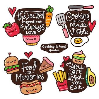 Letras de citações motivacionais sobre comida com doodle