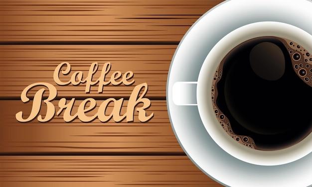 Letras de coffee break com copo em fundo de madeira