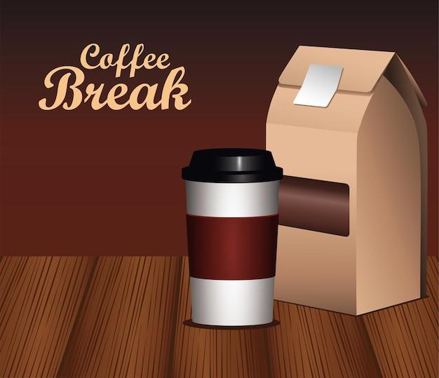 Letras de coffee break com embalagem de pot e caixa