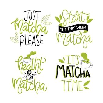 Letras de coleção de chá matcha