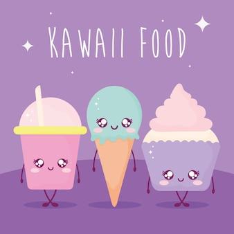 Letras de comida kawaii e conjunto de comida kawaii em roxo