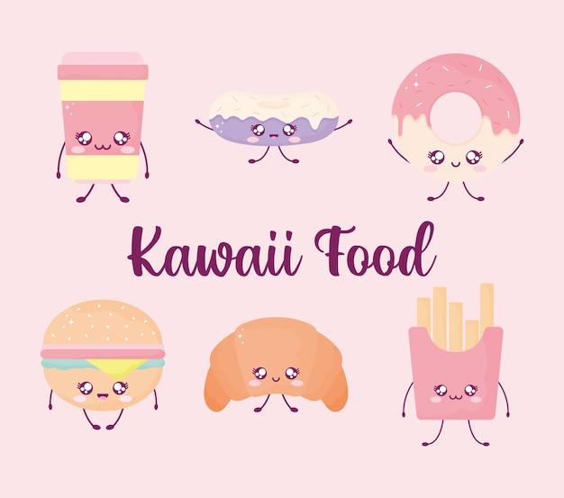 Letras de comida kawaii e um conjunto de comida kawaii em fundo rosa.