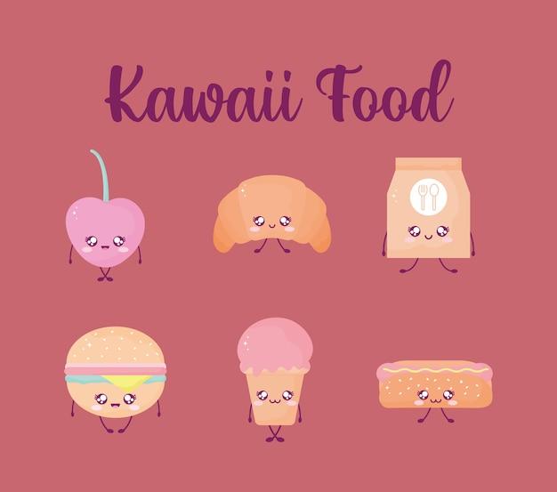 Letras de comida kawaii e um conjunto de comida kawaii.