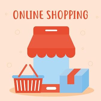 Letras de compras online com conjunto de ícones de compras online