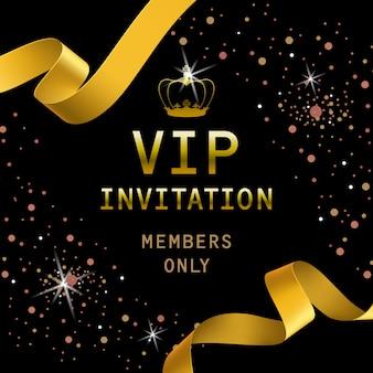 Letras de convite vip com fitas douradas e coroa