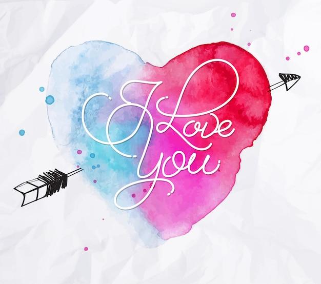 Letras de coração em aquarela eu te amo