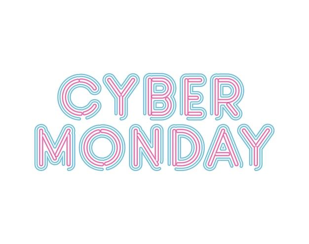 Letras de cyber segunda-feira em fonte neon de desenho de ilustração a cores rosa e azul