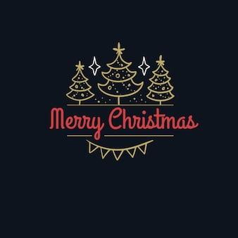 Letras de desenho de feliz natal isoladas em preto